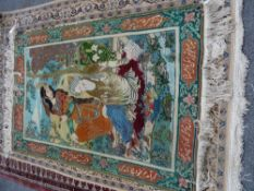 A Tabriz pictorial rug with two figures in a landscape, inscribed cartouches to border,