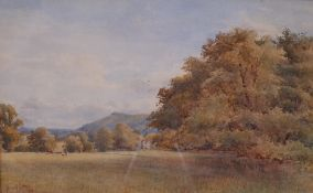Arthur Powell May (British, 1824-1900), A country house and cattle in a landscape,