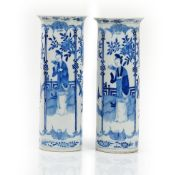 A pair of Chinese blue and white sleeve vases, late 19th/early 20th century,