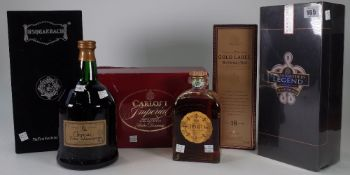 Scotch Whisky and Brandy, comprising; Johnnie Walker Gold Label, Aged 18yrs, Chivas Brothers Legend,