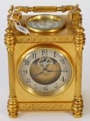 A French gilt brass carriage clock,
