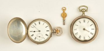 A gentleman's silver pair cased open faced pocket watch, with a gilt fusee movement,