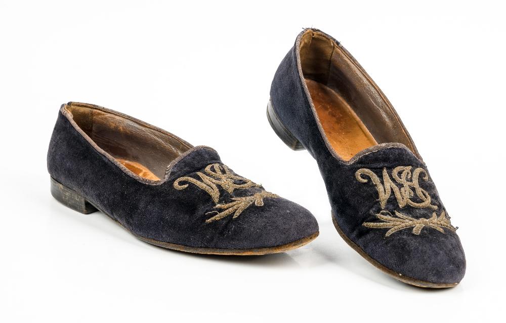 Sir Winston Churchill's monogrammed midnight blue velvet evening slippers, 1950s, of Albert style,