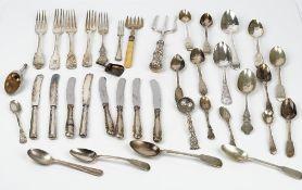 A group of silver flatware, comprising; four fiddle pattern dessert forks,