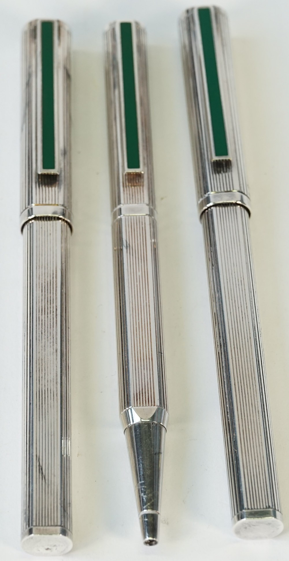 Two Dunhill silver plated fountain pens,