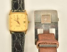 An Omega Seamaster Quartz gilt metal fronted and steel backed curved square cased gentleman's