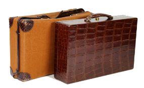 Hermes, Paris, a crocodile skin travelling jewellery/vanity case,