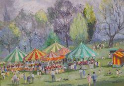 Elsie K Simpson Powell (British, 1895-1975), The Fair, signed 'EKS Powell' (lower right), gouache,