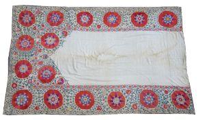 A large Bokhara Susani prayer panel, the plain mehrab panel,