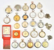 A collection of twenty-one mostly keyless wind, openfaced pocket watches, including Services Army,