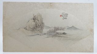 Four Chinese fan paintings, Qing dynasty, ink and watercolour on paper laid onto card,