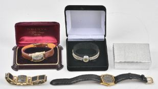 A Lord Elgin gilt metal square cased bracelet wristwatch,