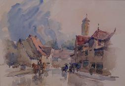 Attributed to Conrad Carelli (British, 1869-1956), A Continental street scene, watercolour,