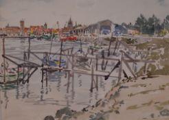 Ian Duncan (British, 20th Century), Jetties, Nieuwpoort, Belgium,