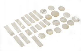 A quantity of Chinese mother-of-pearl gaming counters,