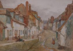 William Mainwaring Palin (British, 1862-1947), Figures in a street, signed and dated 'W.H.