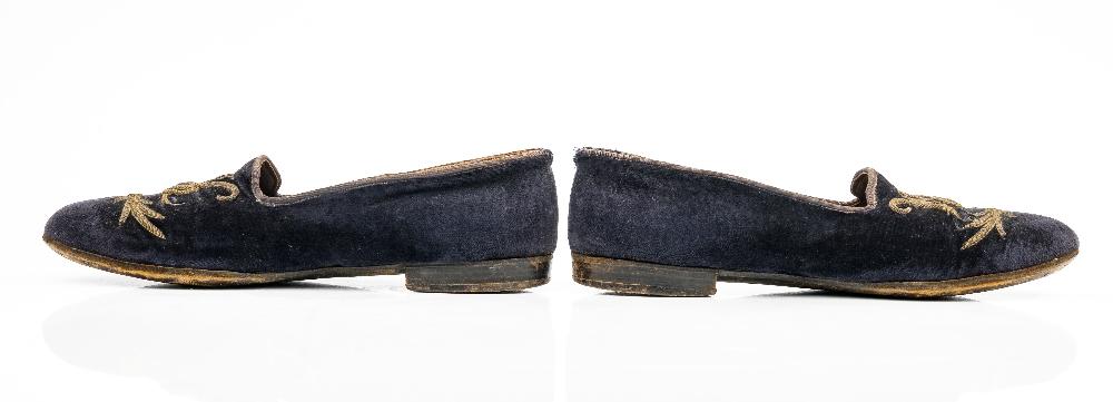 Sir Winston Churchill's monogrammed midnight blue velvet evening slippers, 1950s, of Albert style, - Image 3 of 10