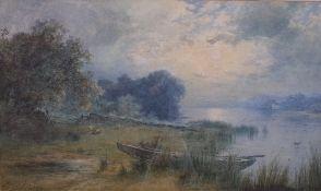 Pollok Sinclair Nisbet (British, 1848-1922), Sheep at rest by a lake,