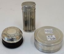 A silver oval hinge lidded case, with banded decoration within engraved rims, length 7.