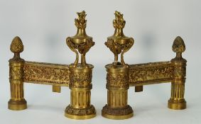 A pair of French ormolu chenets / andirons, Louis XVI style, late 19th century,