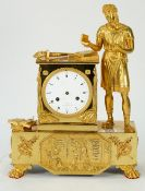 An Empire Ormolu mantel clock, by Lopine, Palais Royal, No 143, modelled with a classical figure,
