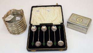A Victorian silver gilt lidded faceted glass toilet box and cover,