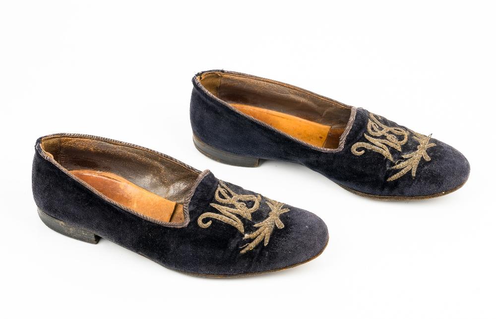 Sir Winston Churchill's monogrammed midnight blue velvet evening slippers, 1950s, of Albert style, - Image 4 of 10