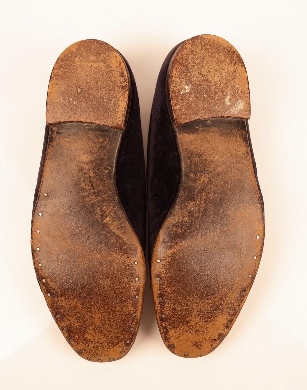 Sir Winston Churchill's monogrammed midnight blue velvet evening slippers, 1950s, of Albert style, - Image 7 of 10