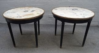A pair of Louis XVI style occasional tables,
