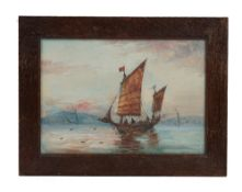 A pair of gouache paintings of Chinese junks at sea, early 20th century, 19cm x 27cm, framed,