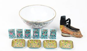 A group of Canton enamels, 20th century,