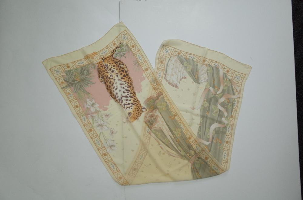 A collection of designer silk scarves comprising a Salvatore Ferragamo example; - Image 4 of 7