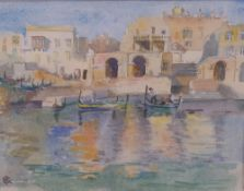 R*** C*** (20th century), Boats in a harbour, signed with initials (lower left), 18 x 23cm,