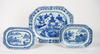 A Chinese blue and white export serving dish, late 18th century, of canted rectangular form,