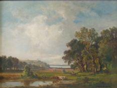 Fritz Halberg-Krauss (German, 1874-1951), Pastoral landscape, oil on canvas, 39.