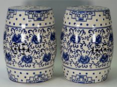 A pair of modern Chinese style blue and white porcelain garden seats,