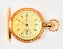 A Waltham gold cased keyless wind hunting cased centre stop seconds pocket watch,