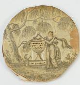 A George III oval silk work panel, signed M:Cruttwell,