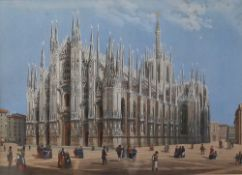 A pair of 19th century engravings of Milan Cathedral and the Arch of Peace, Milan,