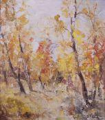 F*** Tonea (20th Century), Trees in autumn, signed 'F Tonea' (lower right), oil on canvas,