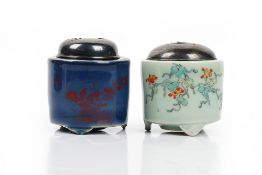 Two Japanese cylindrical koro, Edo period, possibly 18th century,
