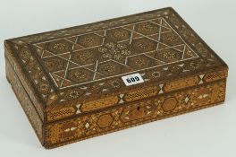 A Syrian rectangular wooden parquetry bone and mother-of-pearl box,