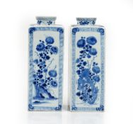 A pair of Chinese blue and white square canisters, in Kangxi style but later,