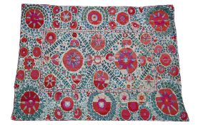 A Bokhara Susani panel, central panel and surround with large and small madder rosette leaf sprays,
