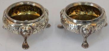 A pair of George III Irish silver cauldron salt cellars, circa 1770, maker's mark rubbed,