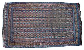 A Cane Shiraz rug, south Persian, the field with vertical polychrome bands bearing minor botehs,