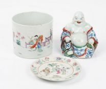 A Chinese porcelain figure of Budai, 20th century, modelled seated holding a string of beads,