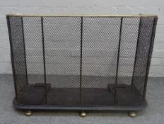 A Victorian mesh nursery fender, with brass top rail, 88cm wide x 31cm deep x 62cm high.