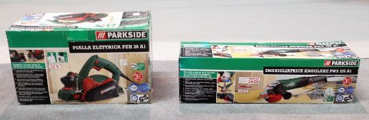 A Parkside angle grinder, boxed and a Parkside electric plane, boxed, (2).