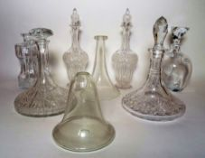 Glassware; a large quantity of modern etched drinking glasses and decanters, (qty).